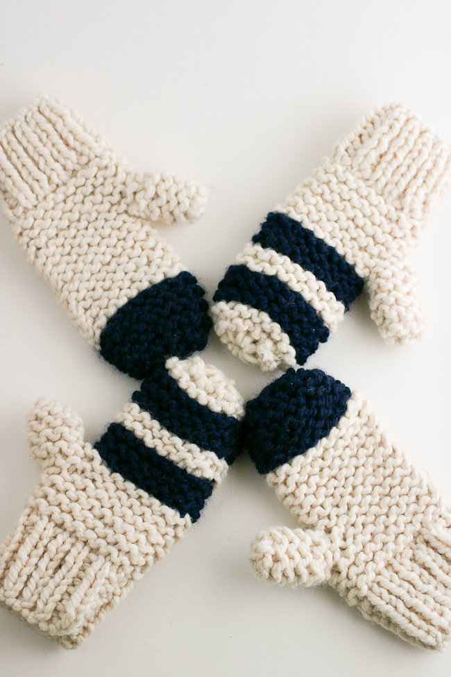 Chunky Garter Stitch Mitten Pattern by Anne Weil of Flax & Twine